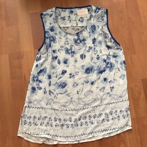 Skies are blue large white and blue floral tank